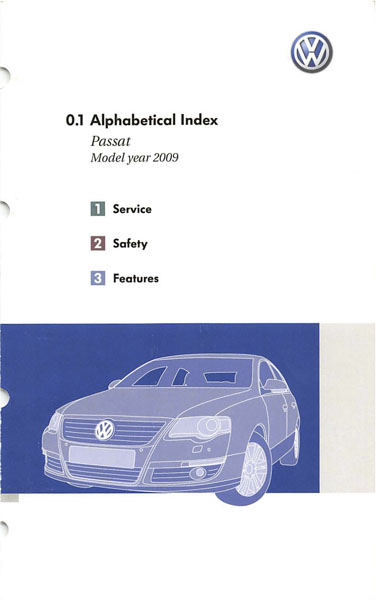 2009 Volkswagen Passat English Alphabetical Index Cover