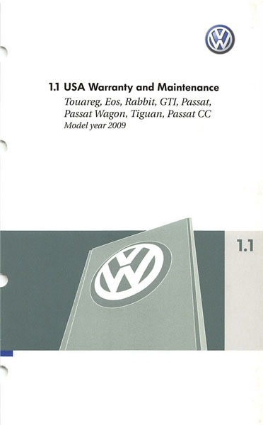 2009 Volkswagen Passat English USA Warranty and Maintenance Cover