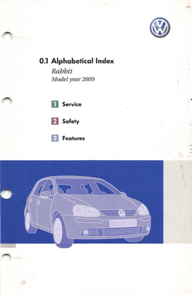 2009 Volkswagen Rabbit English Alphabetical Index Cover
