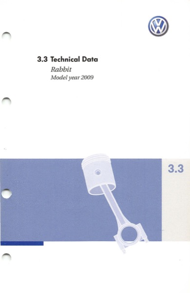 2009 Volkswagen Rabbit English Technical Data Cover