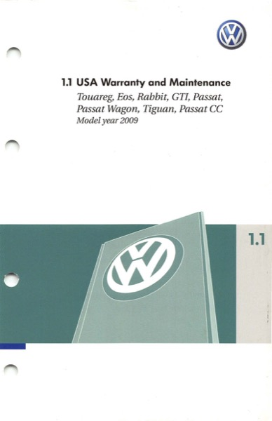 2009 Volkswagen Rabbit English Warranty and Maintenance Cover
