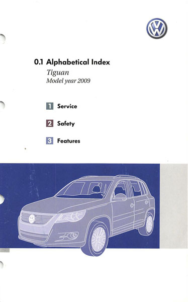 2009 Volkswagen Tiguan English Alphabetical Index Cover