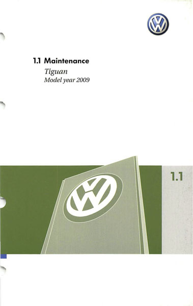 2009 Volkswagen Tiguan English Maintenance Cover