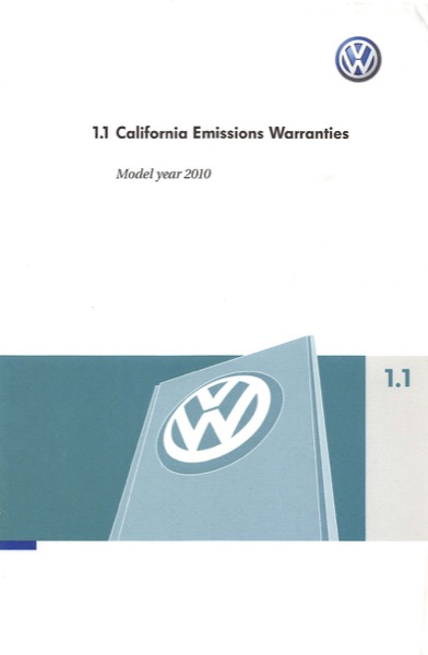 2010 Volkswagen Beetle English California Emissions Warranties Cover