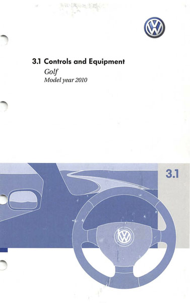 2010 Volkswagen Golf English Controls and Equipment Cover