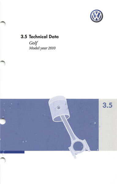 2010 Volkswagen Golf English Technical Data Cover