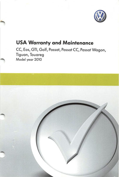 2010 Volkswagen Golf English USA Warranty and Maintenance Cover