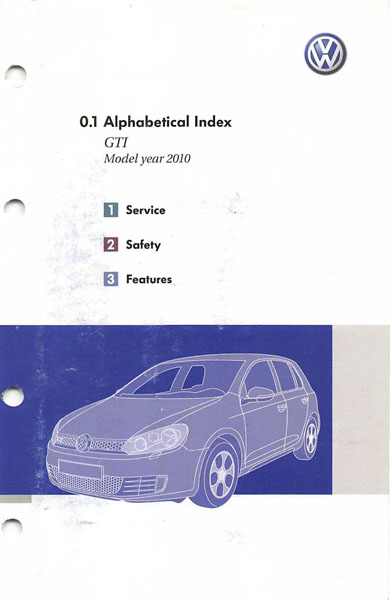 2010 Volkswagen GTI English Alphabetical Index Cover