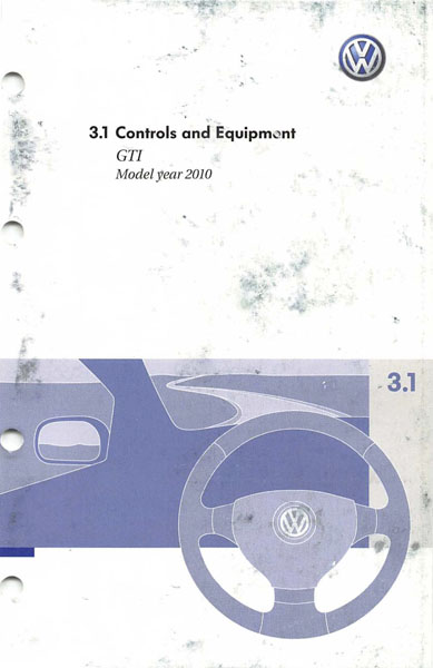 2010 Volkswagen GTI English Controls and Equipment Cover