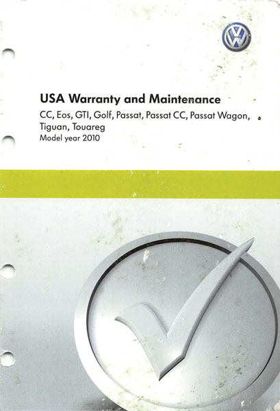 2010 Volkswagen GTI English USA Warranty and Maintenance Cover