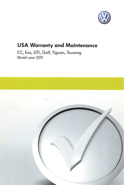 2011 Volkswagen CC English USA Warranty and Maintenance Cover