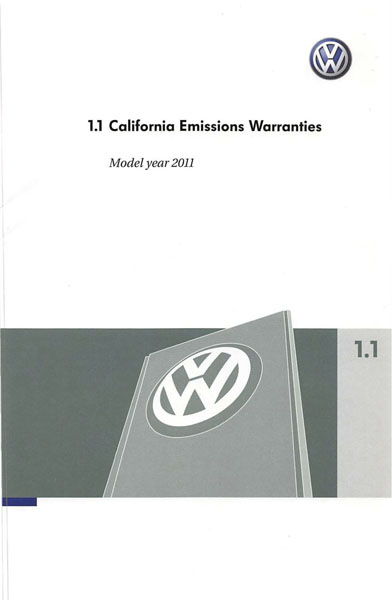 2011 Volkswagen Golf English California Emissions Warranties Cover