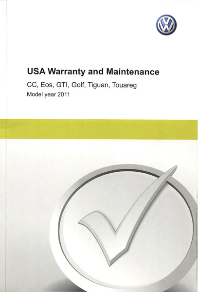 2011 Volkswagen Golf English USA Warranty and Maintenance Cover