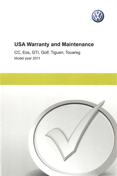 2011 Volkswagen GTI English USA Warranty and Maintenance Cover