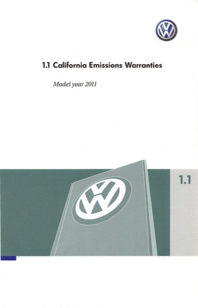 2011 Volkswagen Tiguan English California Emissions Warranties Cover