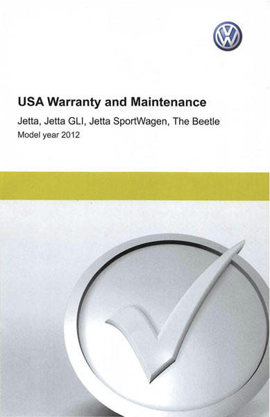 2012 Volkswagen Beetle English USA Warranty and Maintenance Cover