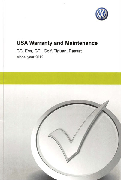 2012 Volkswagen CC English USA Warranty and Maintenance Cover