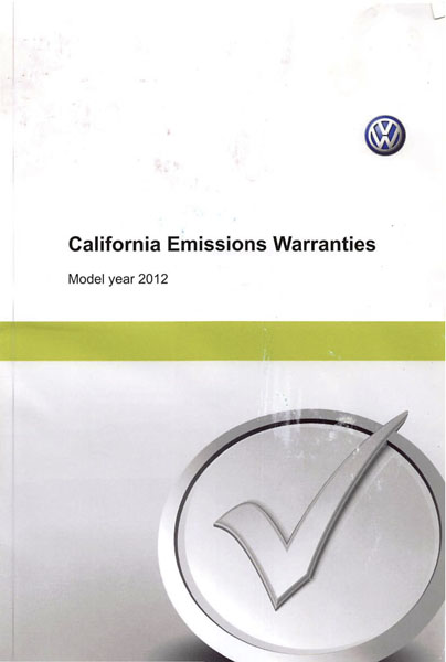 2012 Volkswagen Jetta English California Emissions Warranties Cover