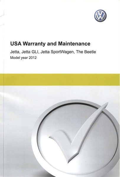 2012 Volkswagen Jetta English USA Warranty and Maintenance Cover
