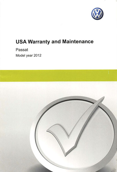 2012 Volkswagen Passat English USA Warranty and Maintenance Cover