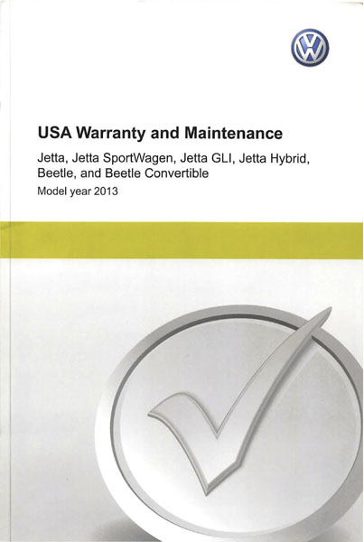 2013 Volkswagen Beetle English USA Warranty and Maintenance Cover