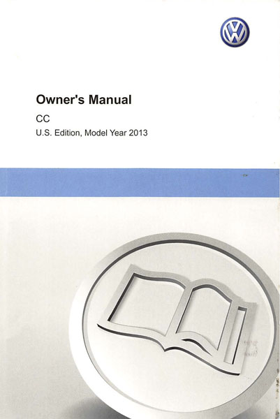 2013 Volkswagen CC English Owner's Manual Cover