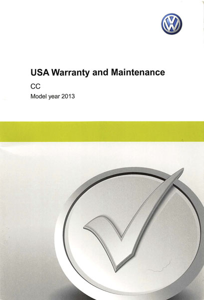 2013 Volkswagen CC English USA Warranty and Maintenance Cover