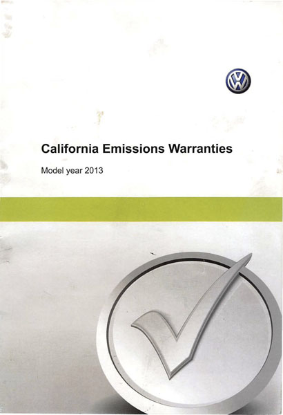 2013 Volkswagen Golf English California Emissions Warranties Cover