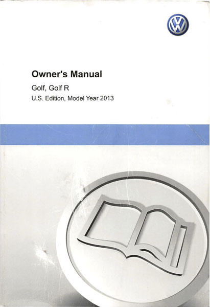 2013 Volkswagen Golf English Owner's Manual Cover