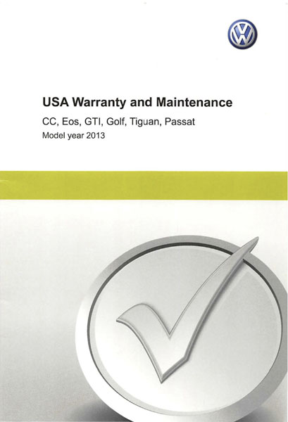 2013 Volkswagen Golf English USA Warranty and Maintenance Cover