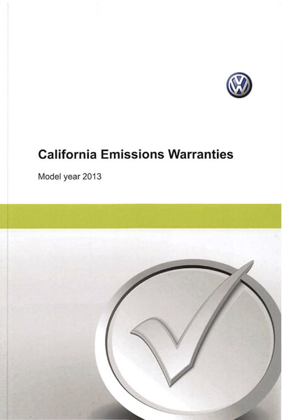 2013 Volkswagen Tiguan English California Emissions Warranties Cover