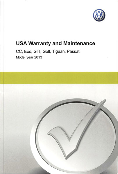 2013 Volkswagen Tiguan English USA Warranty and Maintenance Cover