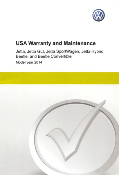 2014 Volkswagen Beetle English USA Warranty and Maintenance Cover