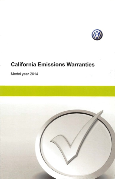 2014 Volkswagen Golf English California Emissions Warranties Cover