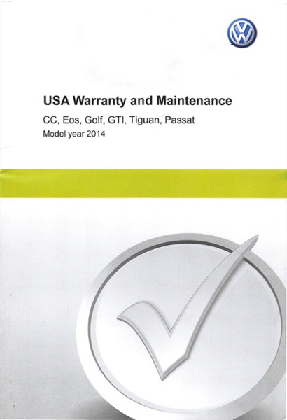 2014 Volkswagen Golf English USA Warranty and Maintenance Cover