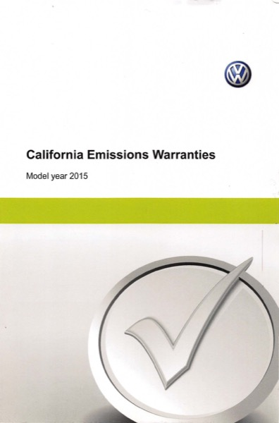 2015 Volkswagen Passat English California Emissions Warranties Cover